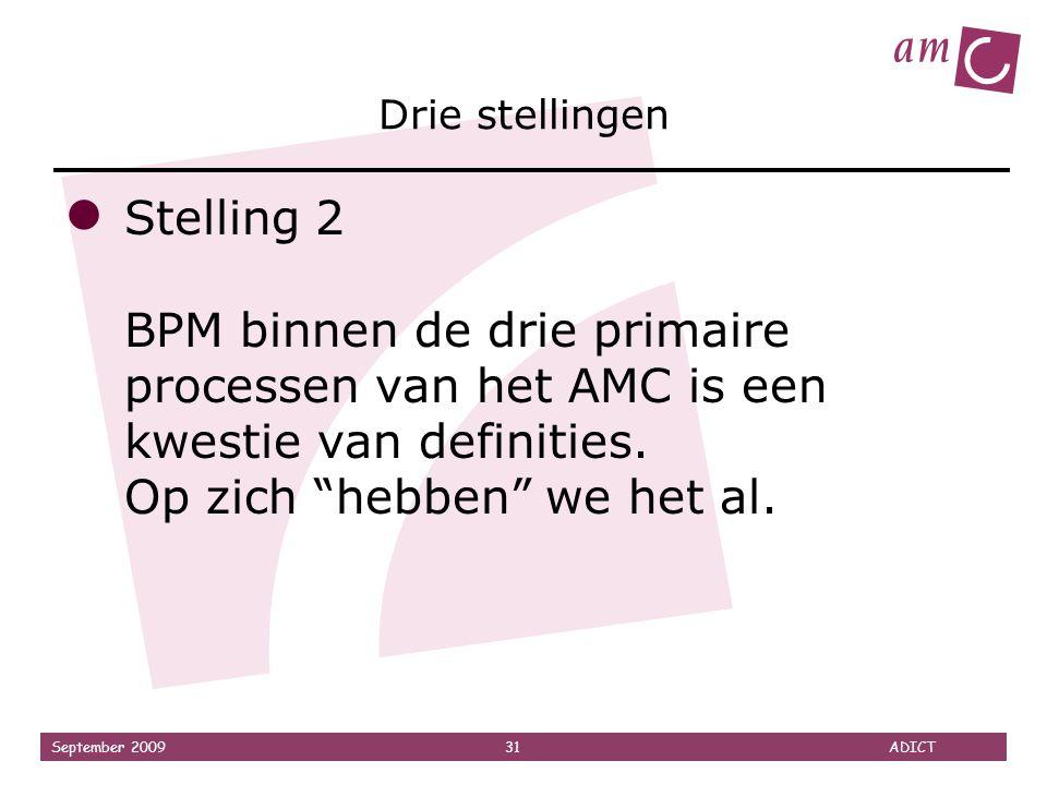 Drie stellingen Stelling 2 BPM binnen de drie primaire processen van het AMC is een kwestie van definities.