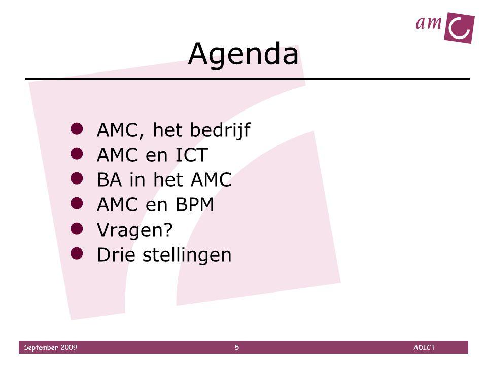 Agenda AMC, het bedrijf AMC en ICT BA in het AMC AMC en BPM Vragen