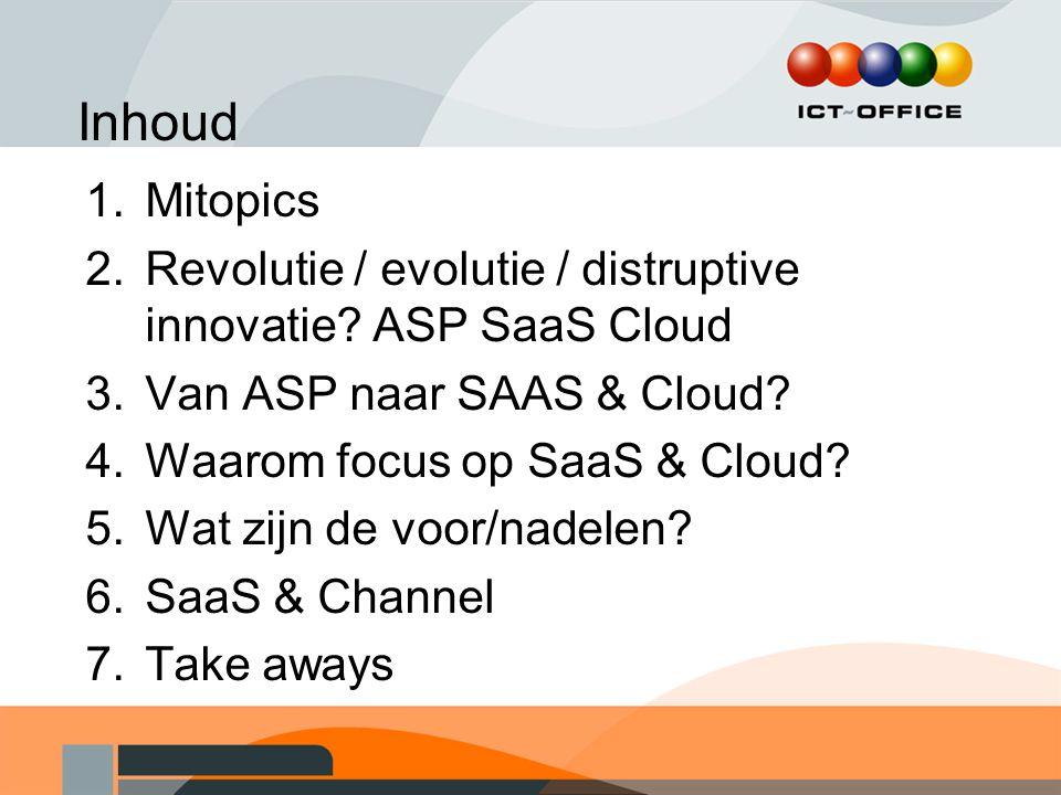 Inhoud Mitopics. Revolutie / evolutie / distruptive innovatie ASP SaaS Cloud. Van ASP naar SAAS & Cloud