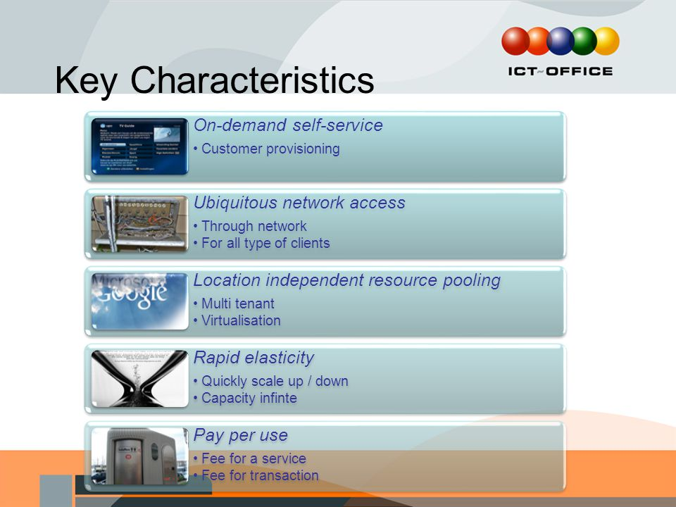 Key Characteristics On-demand self-service. Customer provisioning. Ubiquitous network access. Through network.