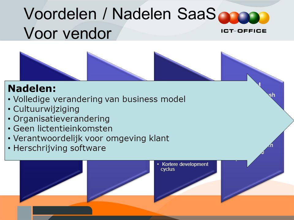Voordelen / Nadelen SaaS Voor vendor