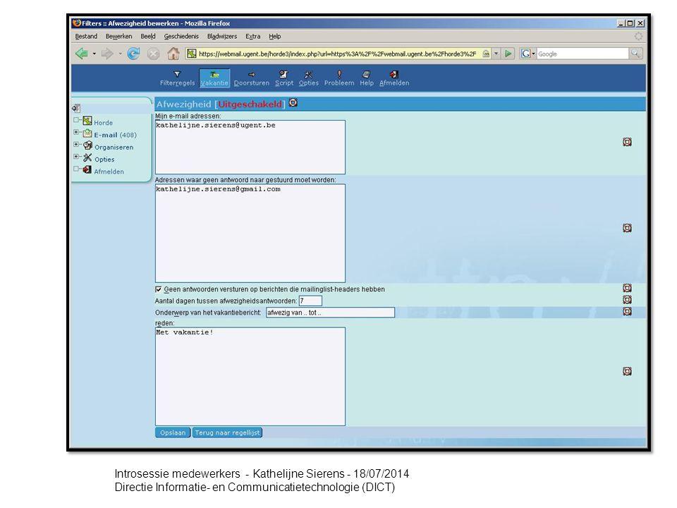 Webmail - Hands on (7) Vakantie (Afwezigheid)