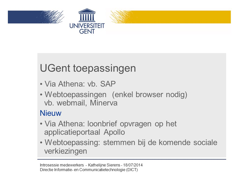UGent toepassingen Via Athena: vb. SAP