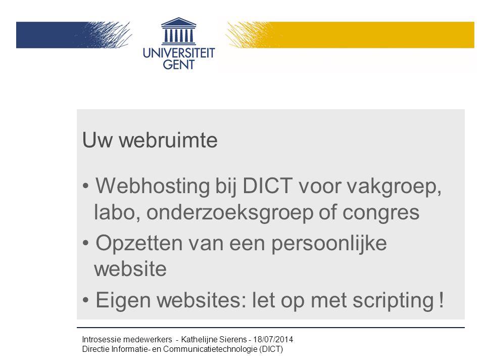 Webhosting bij DICT voor vakgroep, labo, onderzoeksgroep of congres
