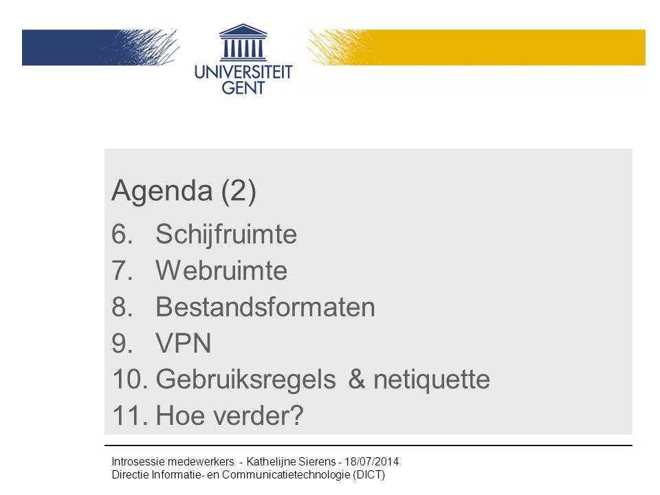 Agenda (2) Schijfruimte Webruimte Bestandsformaten VPN