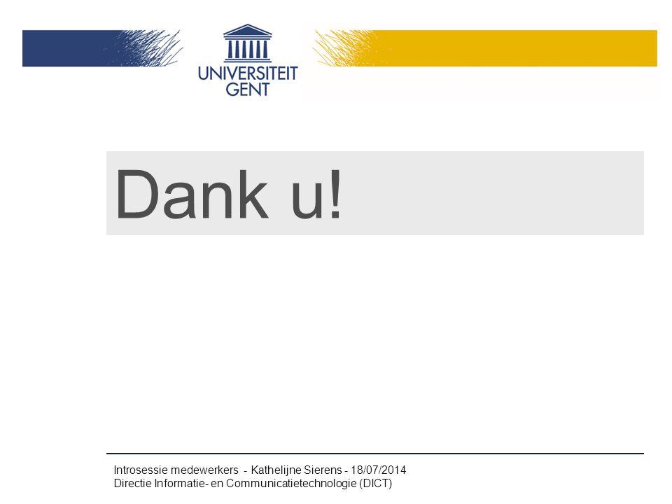 Dank u! Introsessie medewerkers - Kathelijne Sierens - 4/04/2017