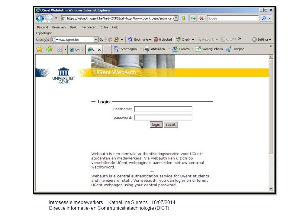 Account - Hands on (2) Het UGent Webauth scherm verschijnt.