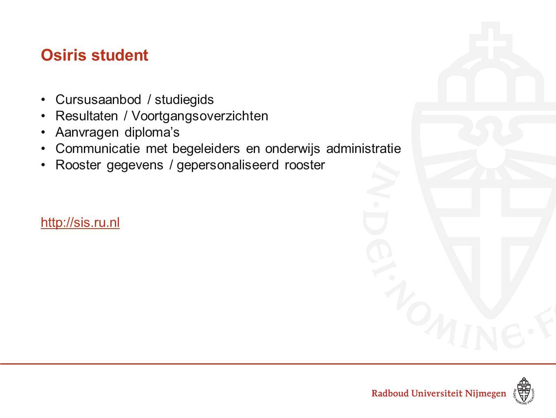 Osiris student Cursusaanbod / studiegids