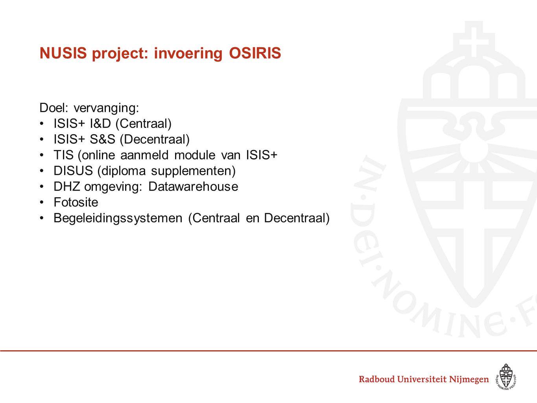 NUSIS project: invoering OSIRIS