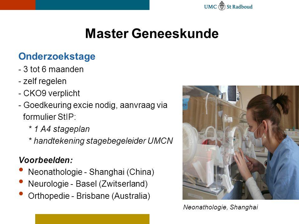 Master Geneeskunde Onderzoekstage - 3 tot 6 maanden - zelf regelen