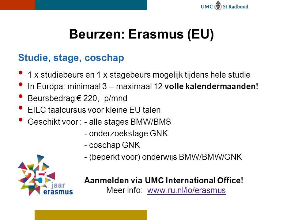 Beurzen: Erasmus (EU) Studie, stage, coschap