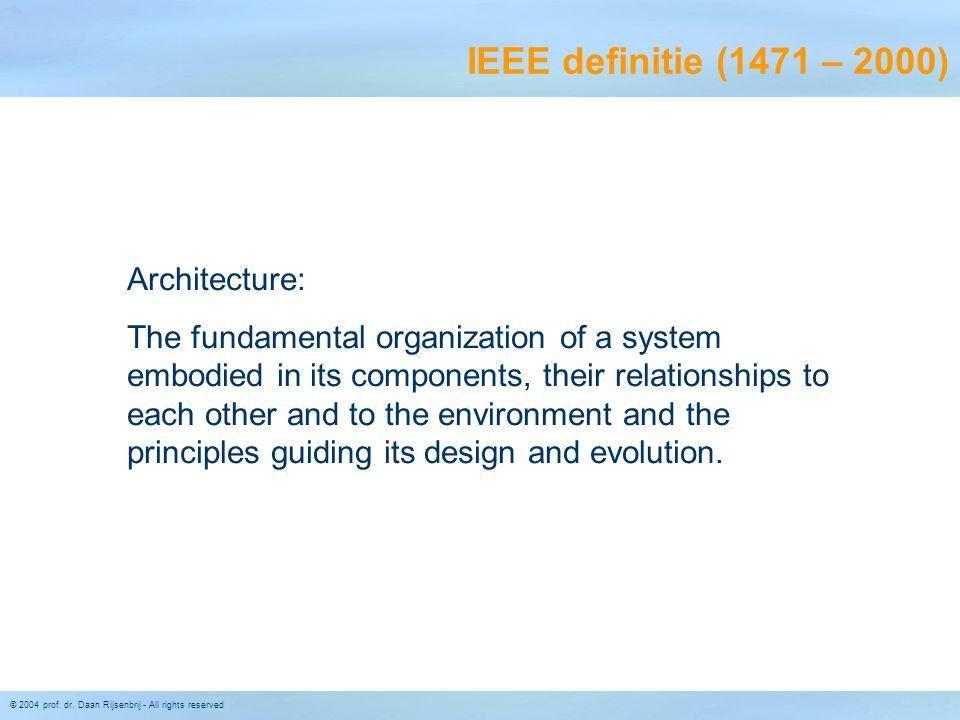 IEEE definitie (1471 – 2000) Architecture: