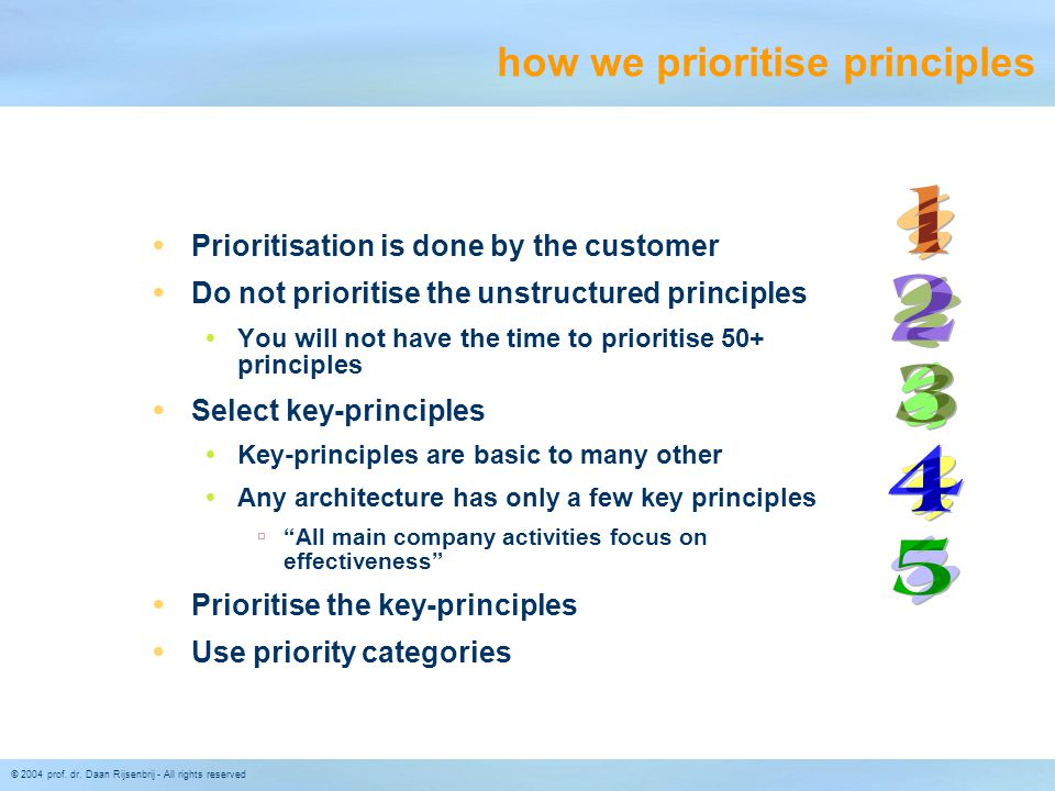 how we prioritise principles