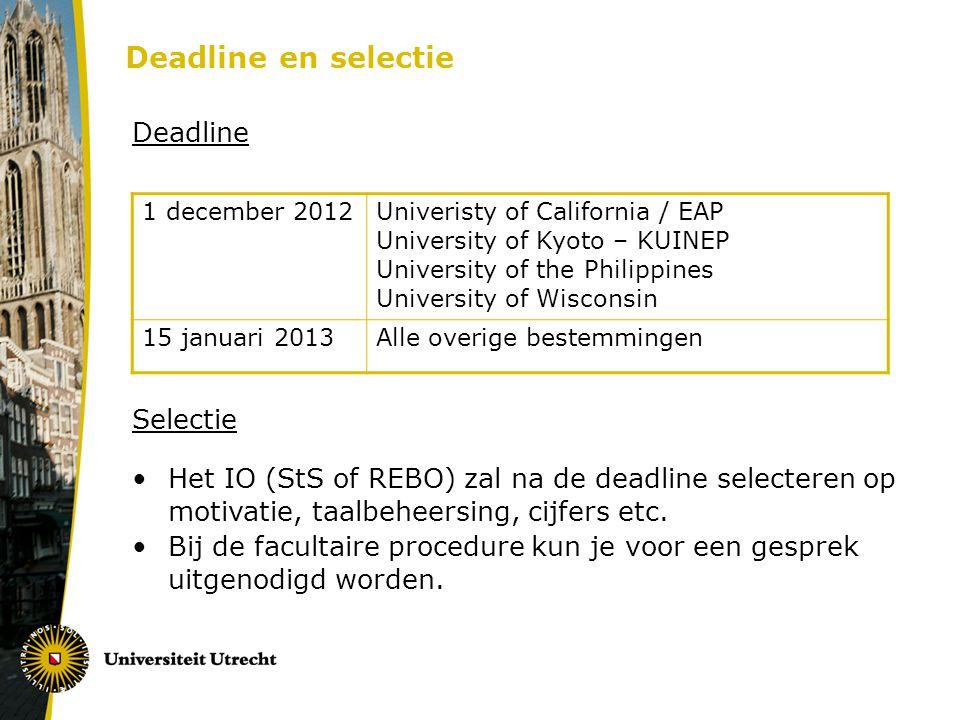 Deadline en selectie Deadline Selectie