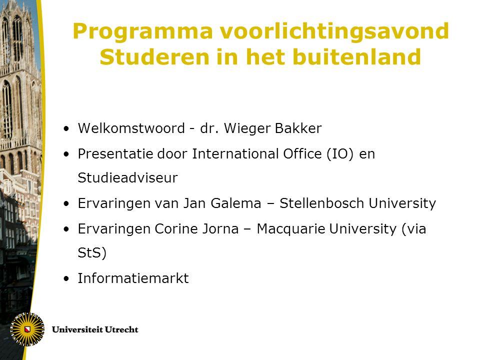 Programma voorlichtingsavond Studeren in het buitenland