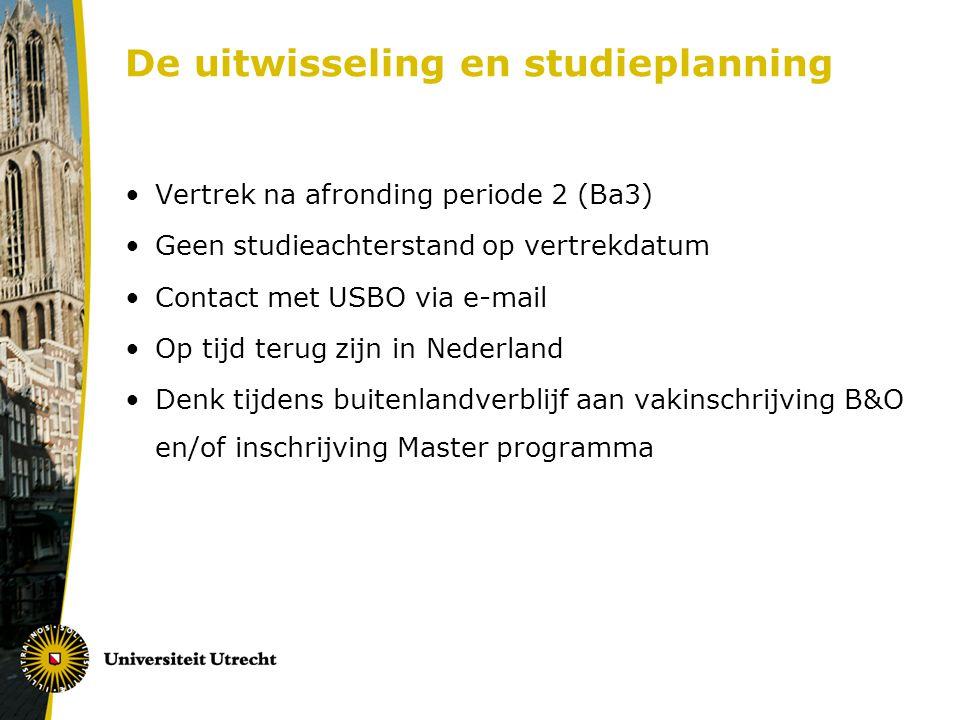 De uitwisseling en studieplanning