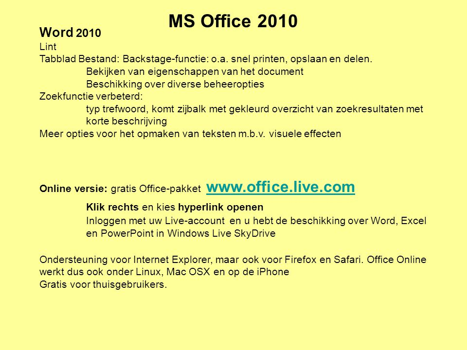MS Office 2010 Klik rechts en kies hyperlink openen Word 2010 Lint