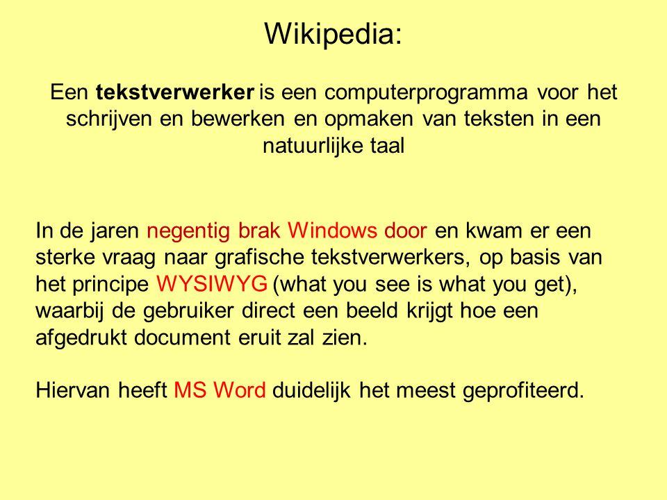 Wikipedia: Een tekstverwerker is een computerprogramma voor het schrijven en bewerken en opmaken van teksten in een natuurlijke taal