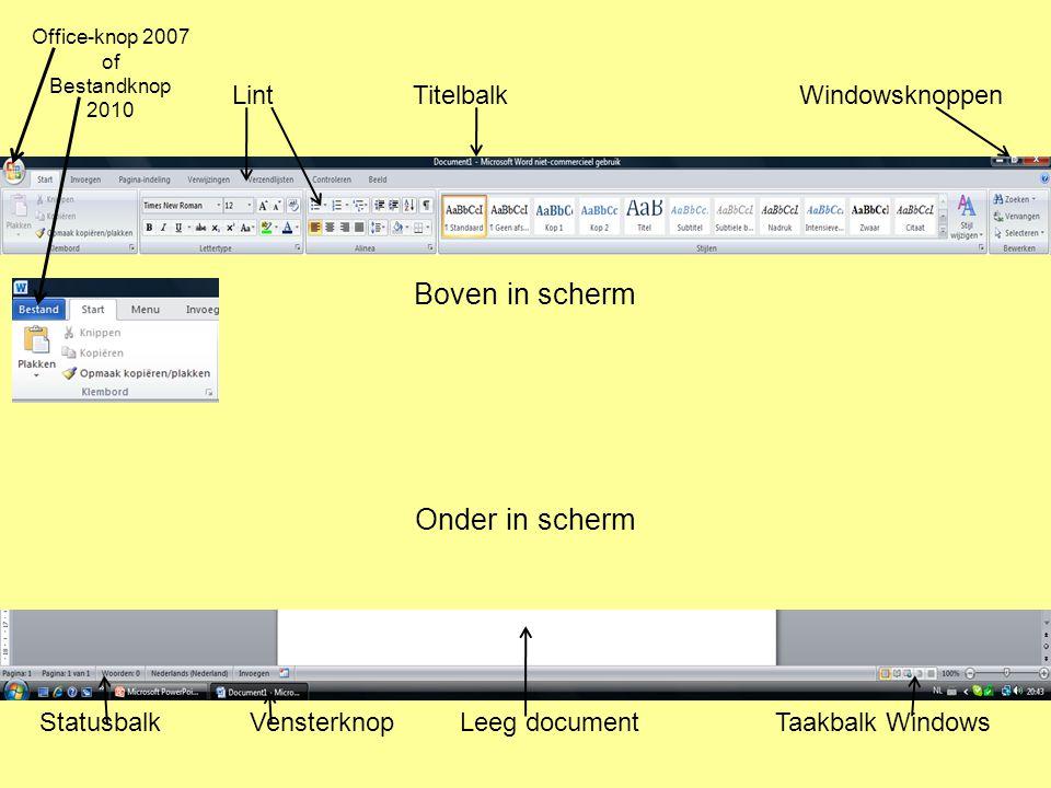 Boven in scherm Onder in scherm Lint Titelbalk Windowsknoppen