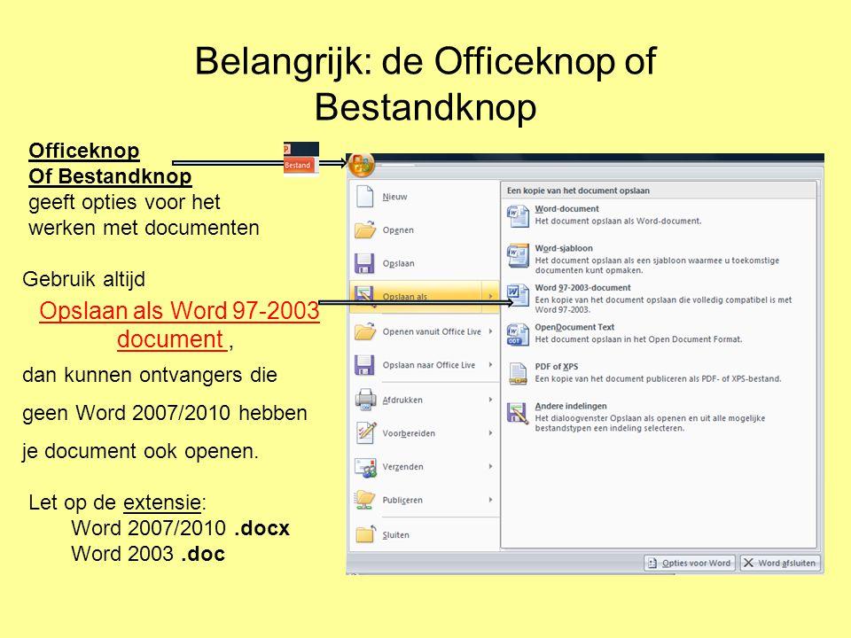 Belangrijk: de Officeknop of Bestandknop