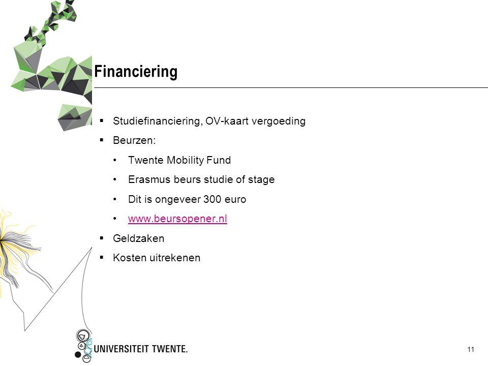 Financiering Studiefinanciering, OV-kaart vergoeding Beurzen: