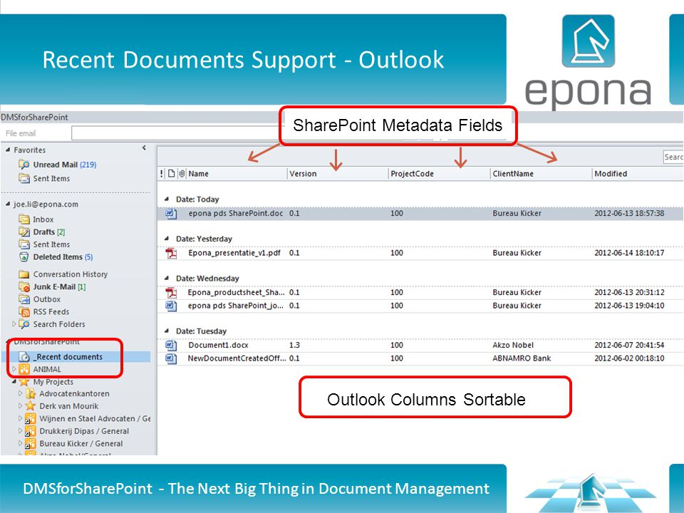 Recent Documents Support - Outlook