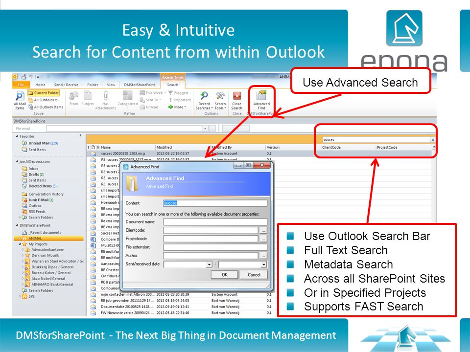 Easy & Intuitive Search for Content from within Outlook