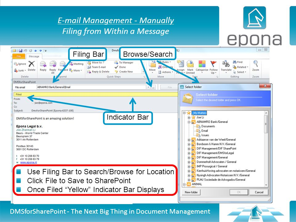 E-mail Management - Manually Filing from Within a Message