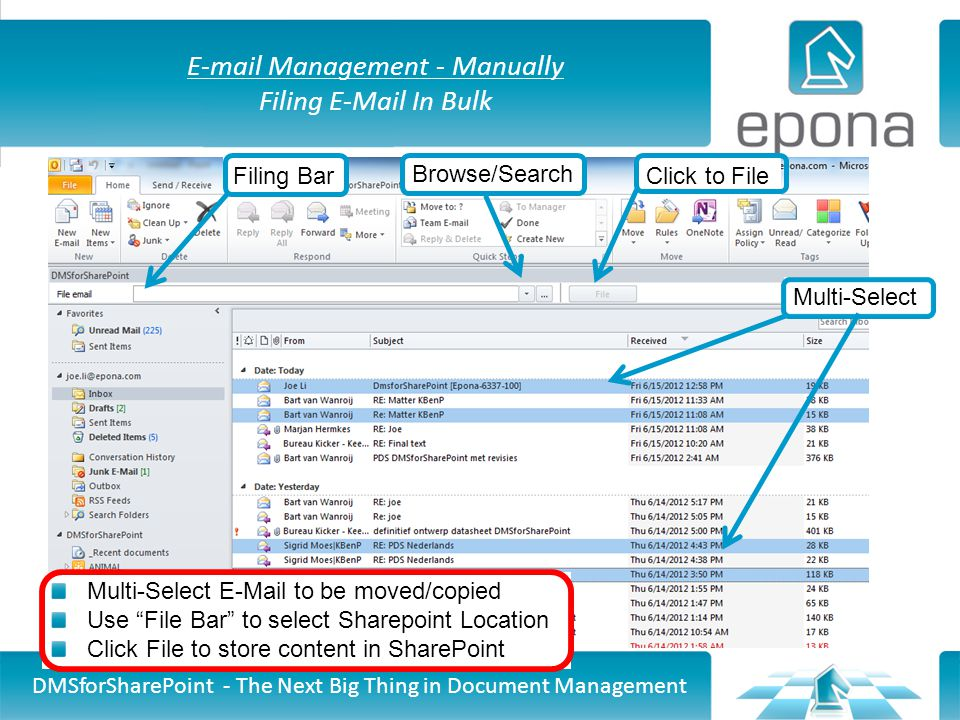 E-mail Management - Manually Filing E-Mail In Bulk