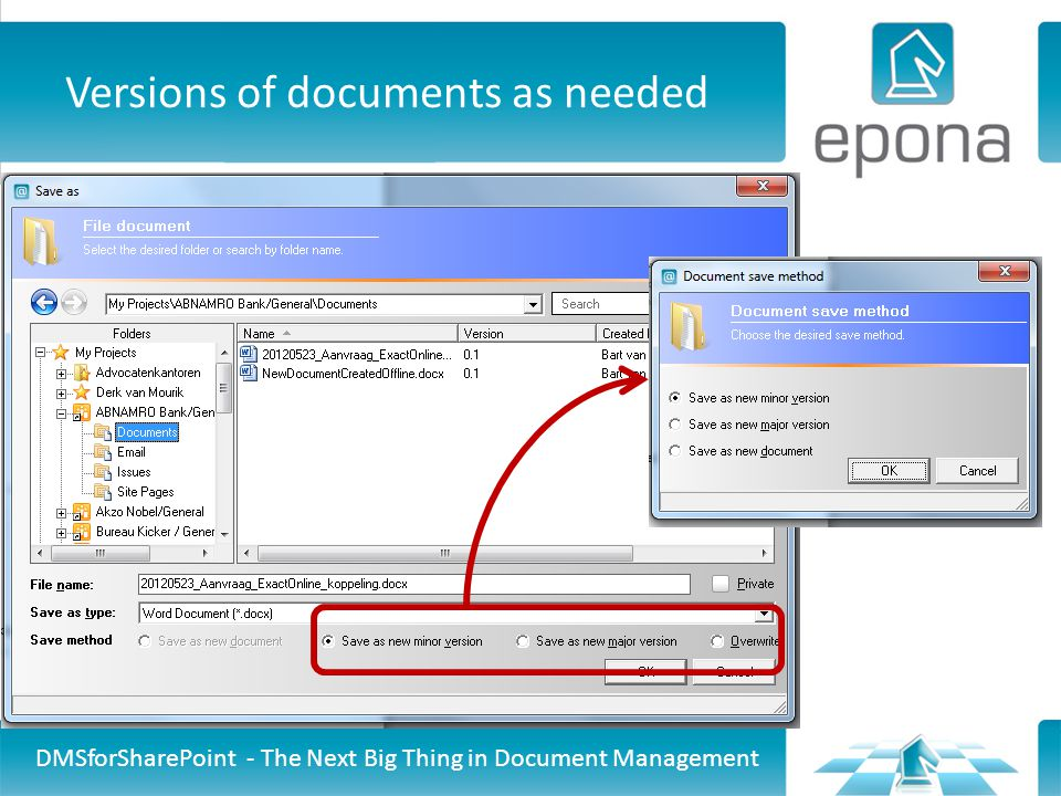 Versions of documents as needed