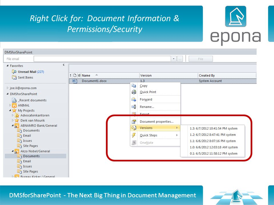 Right Click for: Document Information & Permissions/Security