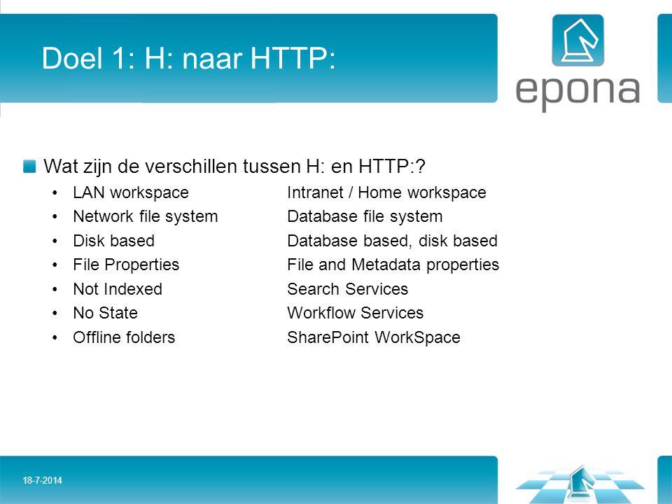 Doel 1: H: naar HTTP: Wat zijn de verschillen tussen H: en HTTP: