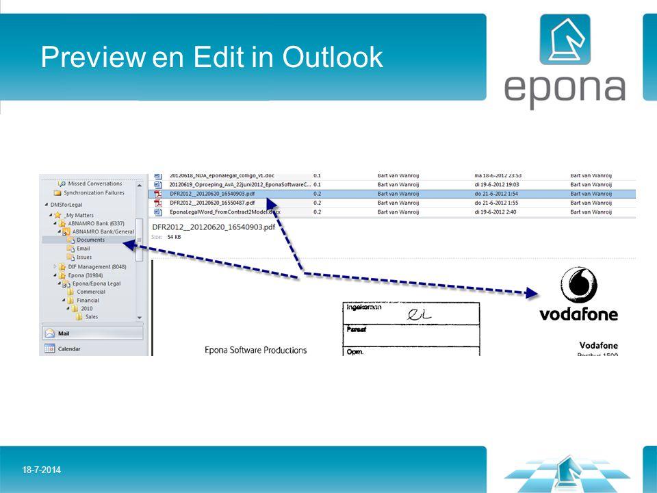 Preview en Edit in Outlook