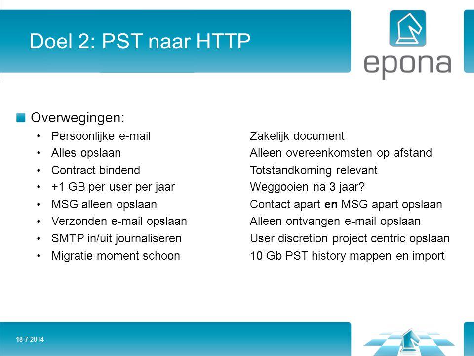 Doel 2: PST naar HTTP Overwegingen: