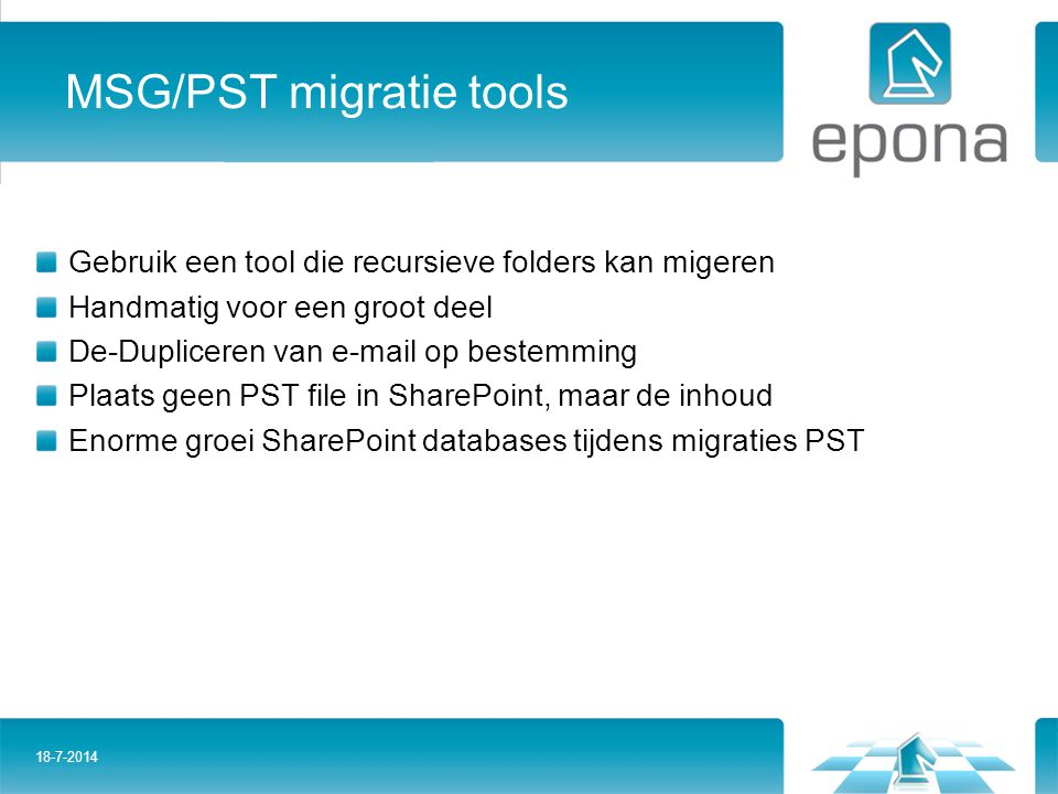 MSG/PST migratie tools