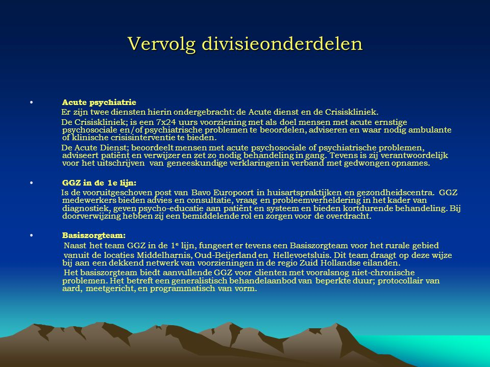 Vervolg divisieonderdelen