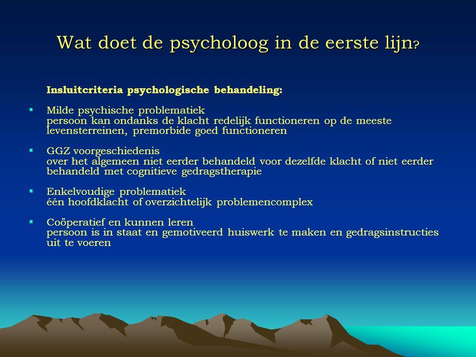 Wat doet de psycholoog in de eerste lijn