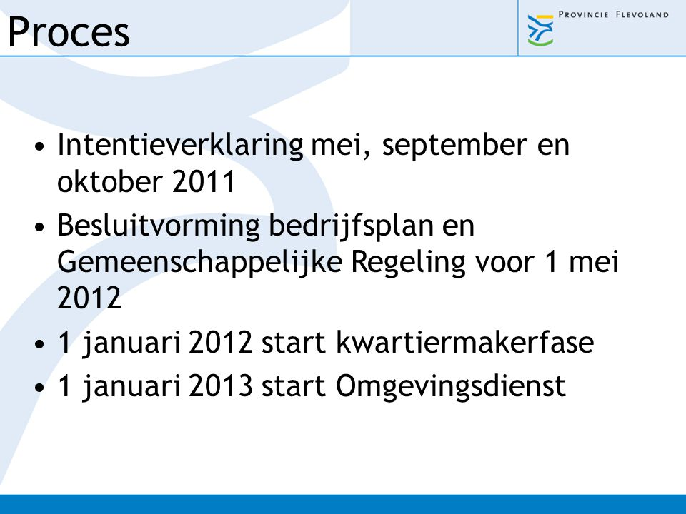Proces Intentieverklaring mei, september en oktober 2011
