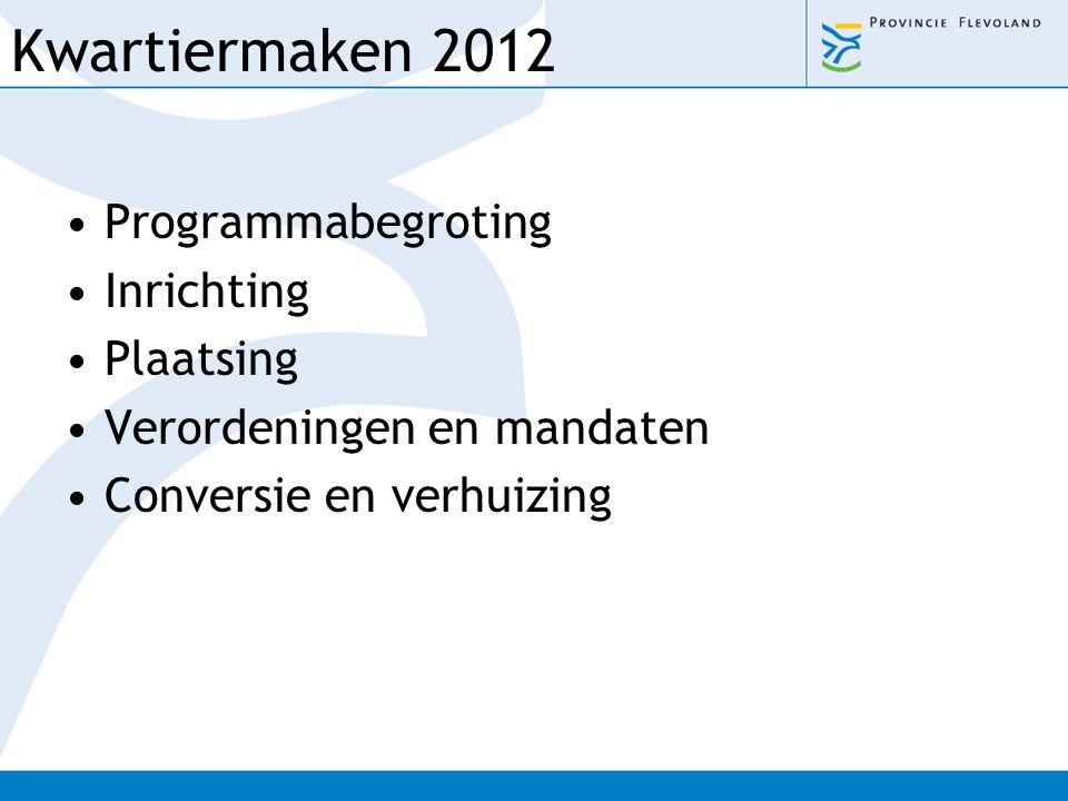Kwartiermaken 2012 Programmabegroting Inrichting Plaatsing
