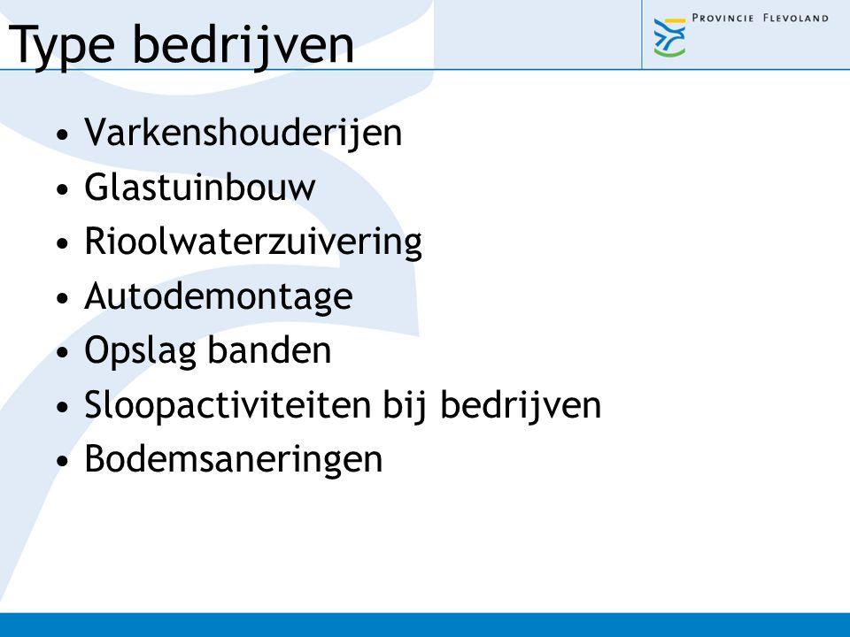 Type bedrijven Varkenshouderijen Glastuinbouw Rioolwaterzuivering
