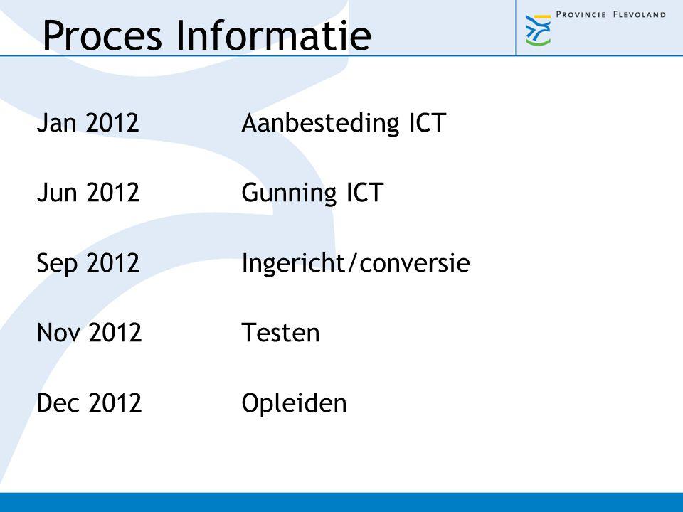 Proces Informatie Jan 2012 Aanbesteding ICT Jun 2012 Gunning ICT