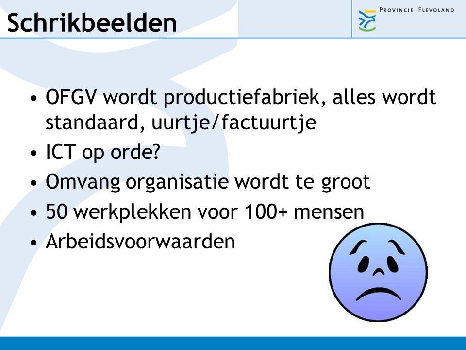 Schrikbeelden OFGV wordt productiefabriek, alles wordt standaard, uurtje/factuurtje. ICT op orde Omvang organisatie wordt te groot.