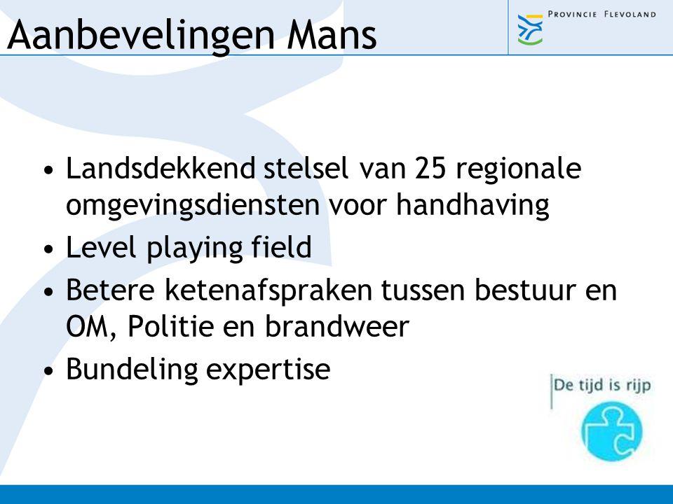 Aanbevelingen Mans Landsdekkend stelsel van 25 regionale omgevingsdiensten voor handhaving. Level playing field.