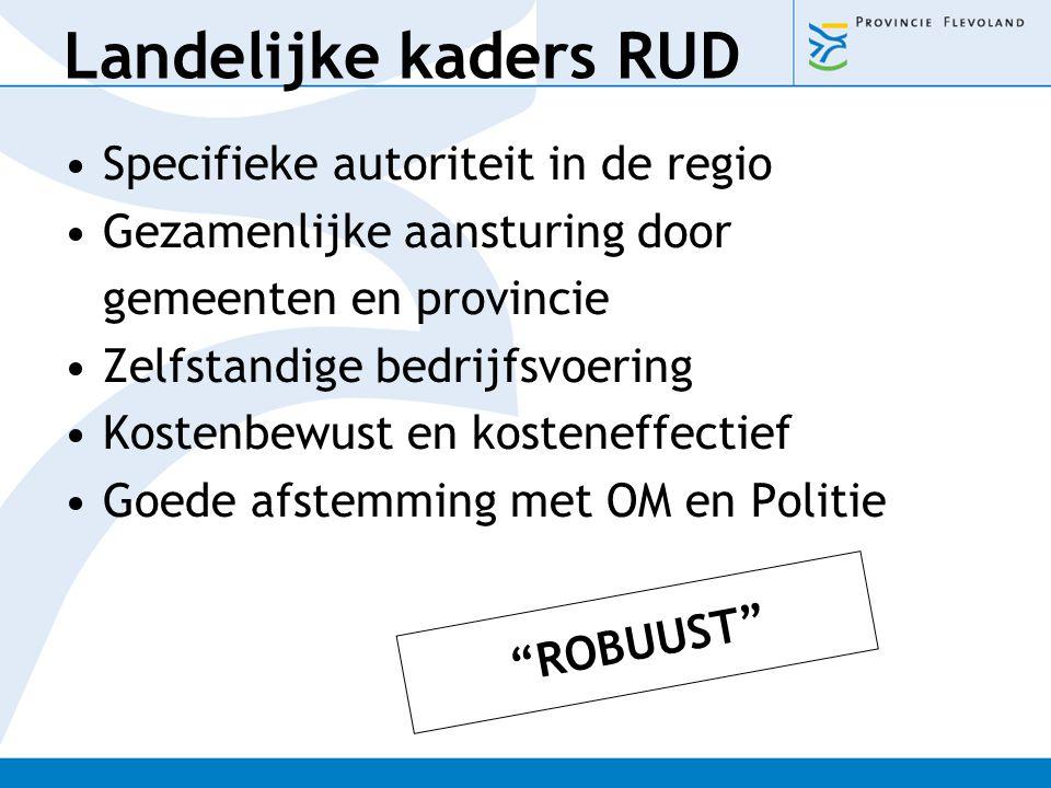 Landelijke kaders RUD Specifieke autoriteit in de regio