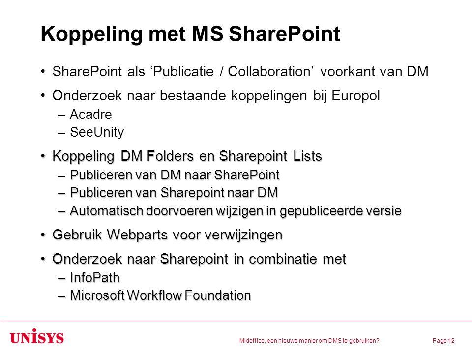 Koppeling met MS SharePoint