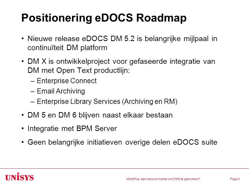 Positionering eDOCS Roadmap