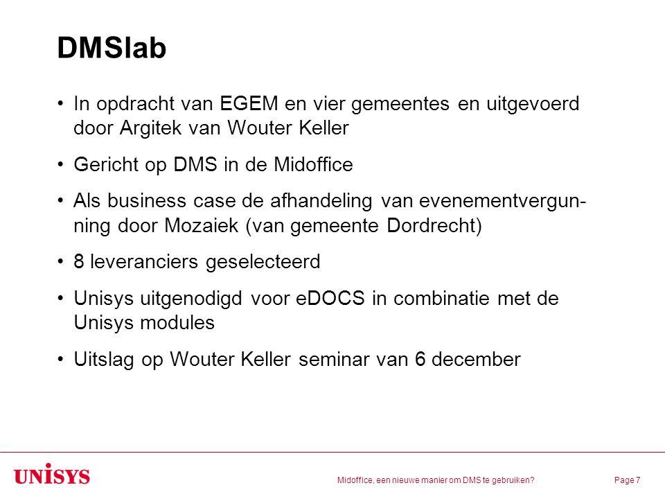 DMSlab In opdracht van EGEM en vier gemeentes en uitgevoerd door Argitek van Wouter Keller. Gericht op DMS in de Midoffice.