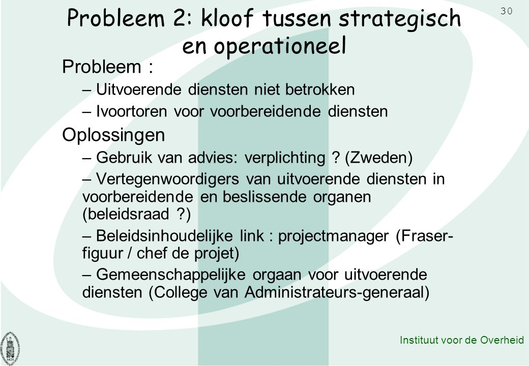 Probleem 2: kloof tussen strategisch en operationeel