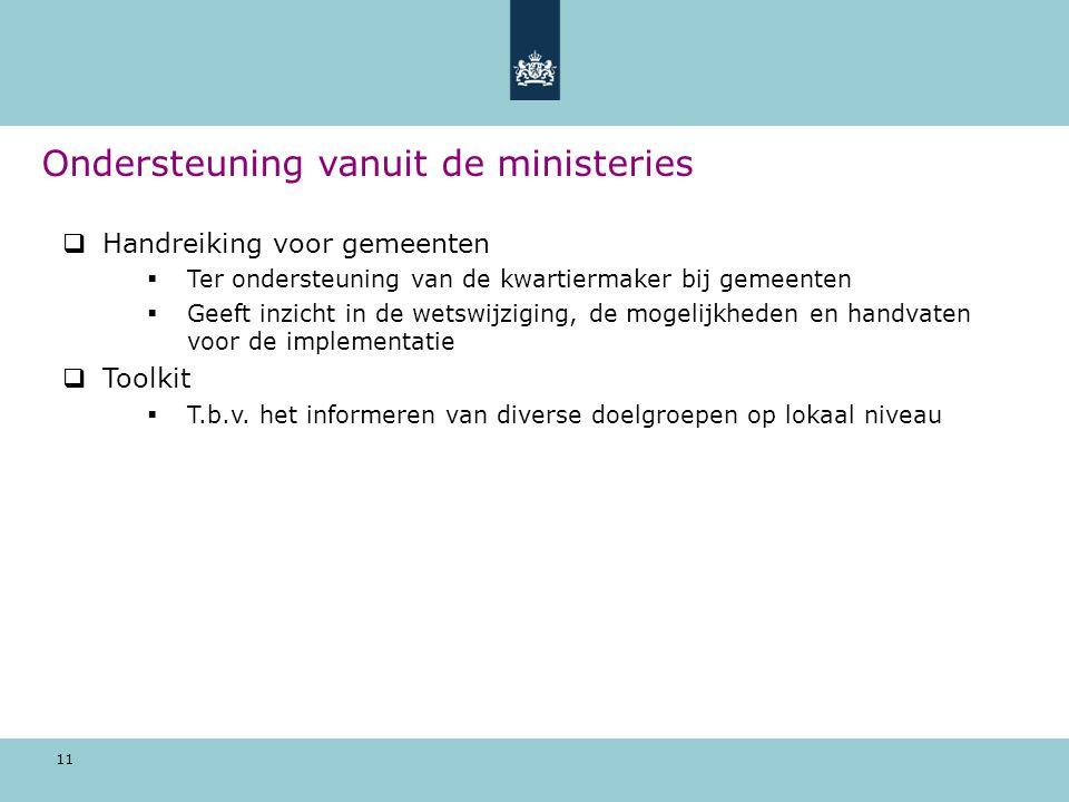 Ondersteuning vanuit de ministeries