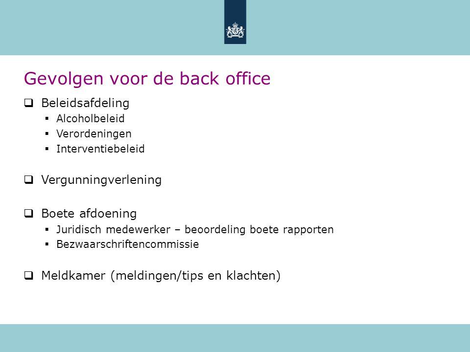 Gevolgen voor de back office